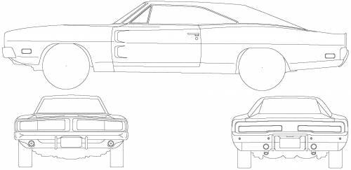 1969 dodge charger daytona sketch coloring page
