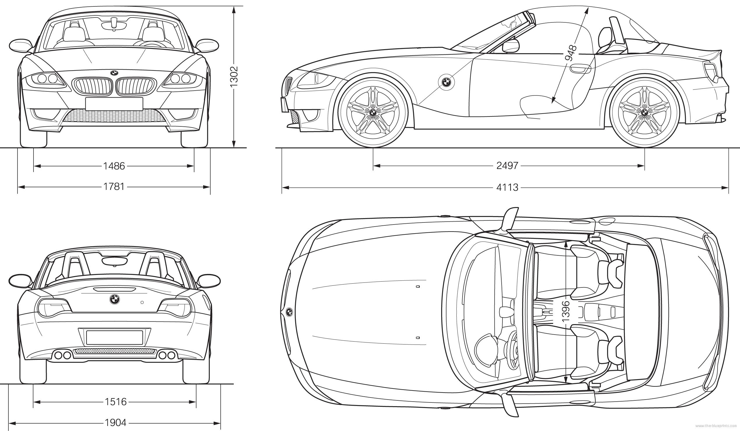 Com blueprints gt cars bmw z4 m roadster e85 2007 for Blueprint sizes
